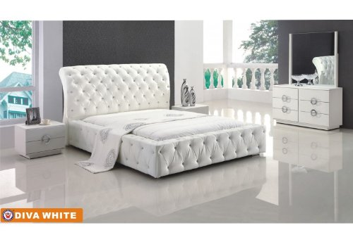 Hot Sale American Eagle Furniture Diva White Bonded Leather & Glossy Veneer Queen Size Bedroom Set