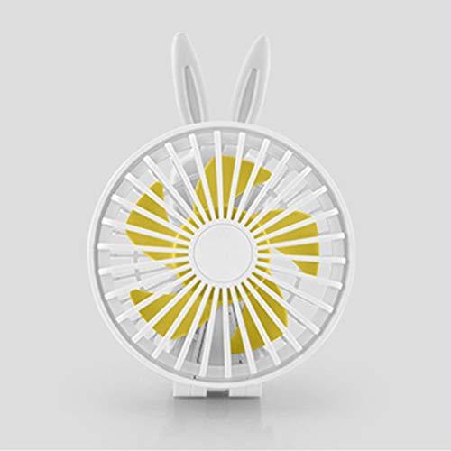 LLQZX Usd De Mano De Refrigeración del Ventilador De Carga del Ventilador Mini Dibujo Animado Forma 3 De Velocidad Ajustable del Ventilador Plegable para El Hogar, En La Oficina O En El Aula,Blanco,B