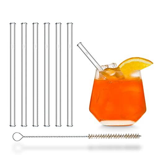HALM Glas Strohhalme kurz - 6 Stück gerade 15 cm - Glasstrohalme Set Wiederverwendbar + plastik-freie Reinigungsbürste - Glas-Trinkhalme für Cocktail Gläser, Kinder Trinkgläser - Smoothie Strohhalme