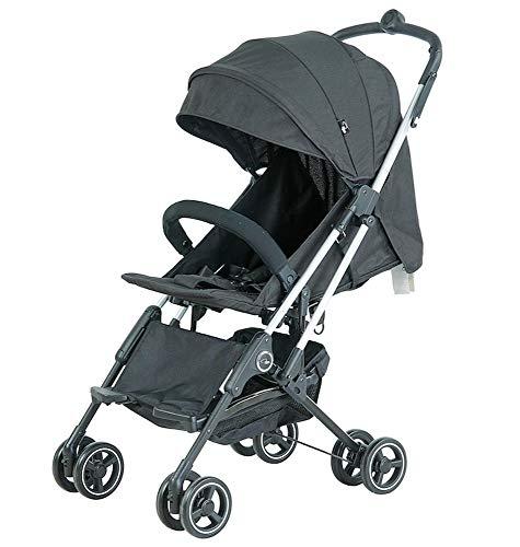 Roma Capsule² - Cochecito de viaje compacto para avión recién nacido solo 5,6 kg, color negro con chasis plateado
