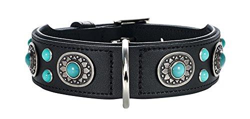 HUNTER SIOUX Hundehalsband, Leder, indianischer Stil, mit Schmucksteinen, 60 (M-L), schwarz