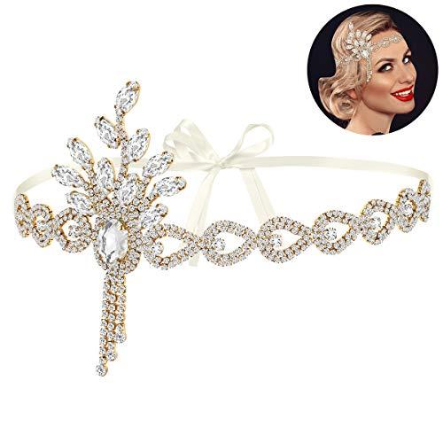 Lurrose Diadema de los años 20 para las mujeres Vintage años 20 Diadema Rhinestone Accesorios para el pelo para la fiesta de boda Vintage Accesorios de disfraz