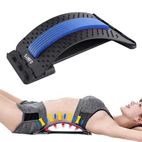 Back Stretcher with Magnetic Acupressure Points - Multi-Level Posture Corrector & Back Massager - Lumbar Support Device for Lower & Upper Back Pain Herniated Disc Sciatica Spinal Stenosis Relief
