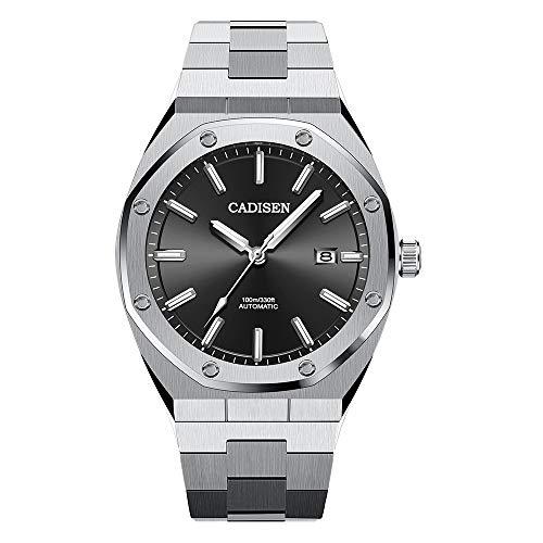 Herren Automatik-Uhr Armbanduhr Automatikwerk mit Edelstahlband (Black)