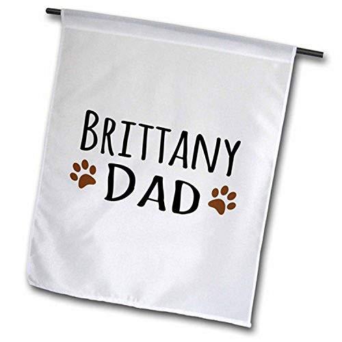 3dRose FL_153874_2 Bretagne Spaniel Hund Papa Braun Schlammige Pfotenabdrücke Doggy Lover Gartenflagge 45,7 x 68,6 cm