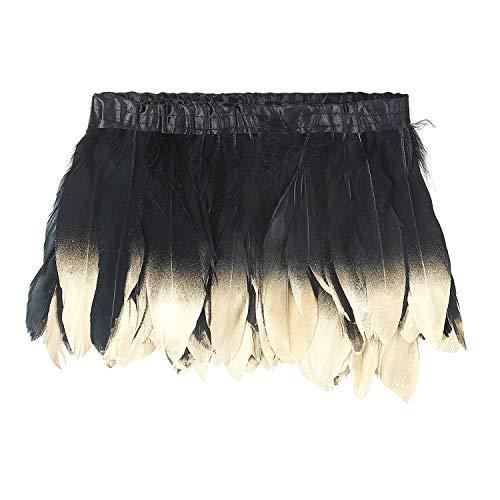 KOLIGHT - Plumas de ganso teñidas de color natural, 15~20 cm, ribete de flecos para bricolaje,...