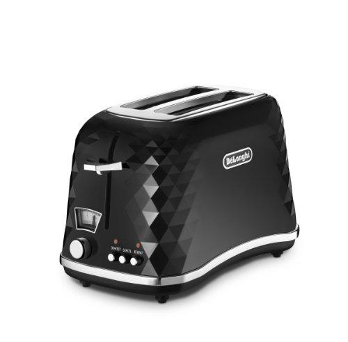 DeLonghi Brilliante Tostador con luz de indicación, 900 W, 50-60 Hz, 2 rebanadas, Plástico, Negro