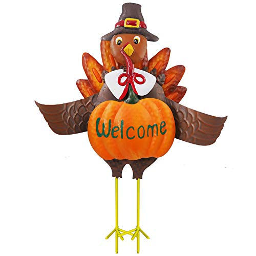 FUNPENY Thanksgiving Turkey Decors, 3D Metal Turkey Garden Stakes Fall Harvest Decoration, Happy Thanksgiving Autumn Fall Outdoor Yard (23 Inch)
