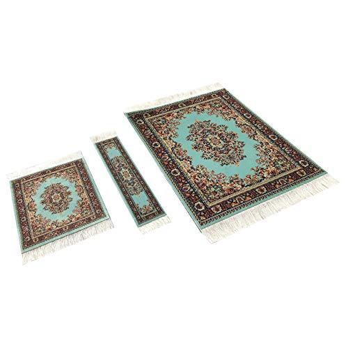 Set of Rug Mouse Pad + Coaster + Bookmark - Oriental Style Carpet Mousemat Miniature Rug (Turquoise)