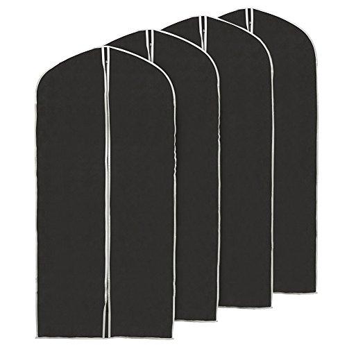 EZOWare Housse de Vêtements Pliables en Tissu Non-Tissé Respirant, Housse de Protection, pour Costume d'Homme, Blouse de Travail de Femme, Jupe Plissée Longue – Lot de 4, 60 x 150 cm, Noir