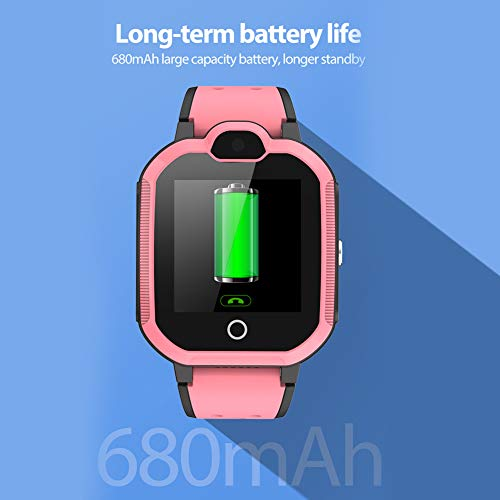 Polywell 4G Kinder Smartwatch, Touchscreen Mobile Smartwatches mit LBS SOS Voice Chat Kamera Taschenlampe Wecker Digitalkamera Kids Smart Watch für Mädchen, Kompatibel mit IOS und Android