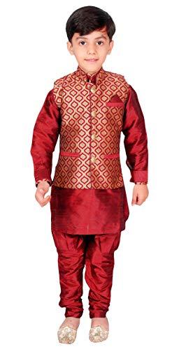 Desi Sarees Chaleco De Pijama Kurta para Niño Estilo Maharaja EB 947 (8 años, Granate)