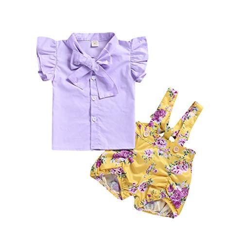 Tonsee Tenues pour Filles, T-Shirts Cute Toddler Baby - T-Shirt à Manches Courtes et Salopette à imprimé Floral