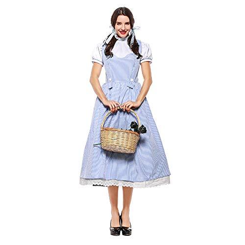 Lhlxs Traje de Halloween Fairy Tale El Mago de Oz Actriz Dorothy Vestido de Alice señoras del algodón para Adultos Ropa de la Etapa del Traje