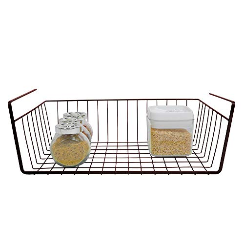 Smart Design Undershelf Storage Basket - Medium - Snug Fit Arms - Steel Metal Wire - Rust Resistant - Under Shelves, Cabinet, Pantry, & Shelf Organization - Kitchen (16 x 5.5 Inch) [Bronze]