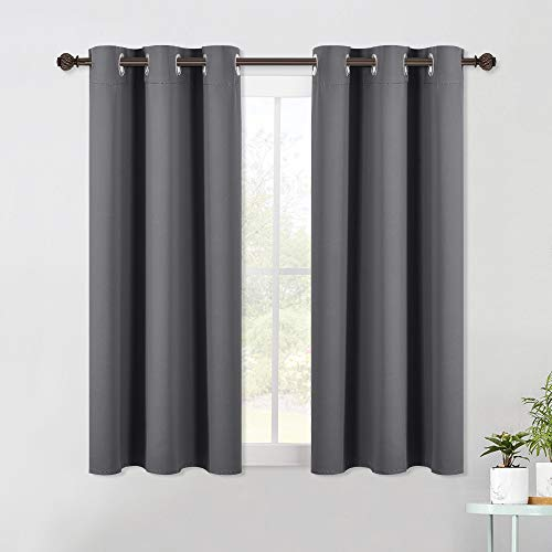 NICETOWN Bedroom Curtains Blackout Drapery Panels, Three Pass Microfiber Thermal Insulated Solid Ring Top Blackout Window Curtains / Drapes (Two Panels, 42 x 54 Inch, Gray)