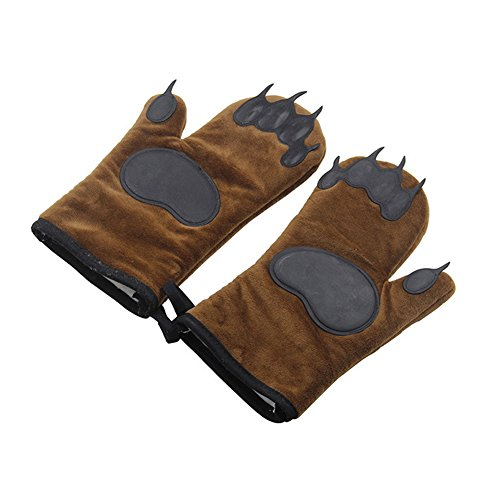 YOEDAF Heat Resistant Oven Mitts & Pot Holder Kitchen, Bears Insulated Gloves Anti Hot Microwave...