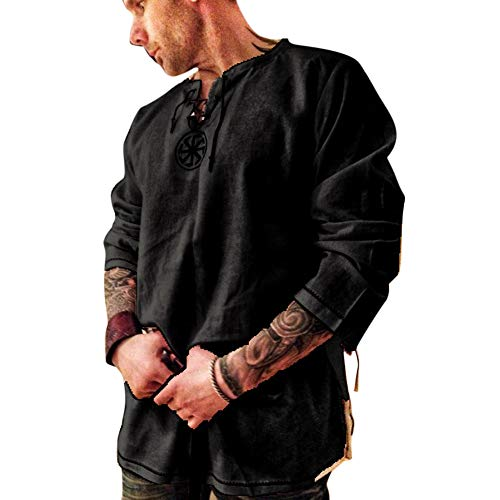 Men's Fashion Cotton Linen Shirt Long Sleeve Solid Color Ethnic Beach Yoga Top Black XL