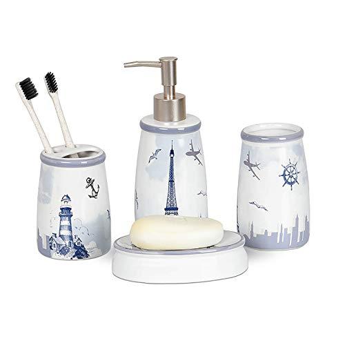 Kleine Badezimmerkeramik-Kits, exquisite Handwerks Badaccessoires Set Nordic Style Badezimmer Leuchtturm Keramik Waschtisch Set Vier-teiliges Mundwasser-Tasse Bürstbecher Set Zahnbürstenhalter