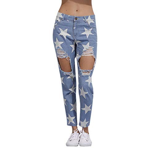 YWLINK Damen Mode Knie Loch Gebrochen Frau Denim Stern Drucken Kurz Geschnittene Jeans(XL,Blau)