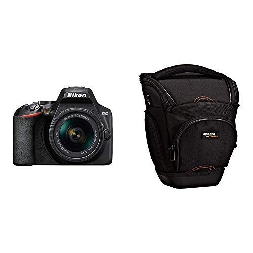 Nikon D3500 - Cámara réflex de 24 MP (Full HD, ISO de 100–25600, Sistema de autofoco, Modo guía, LCD, SnapBridge) - Kit con Objetivo AF-P 18/55VR, Amazon Basics - Funda para cámara de Fotos réflex