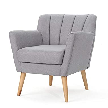 Christopher Knight Home Merel Mid-Century Modern Fabric Club Chair, Light Grey / Natural