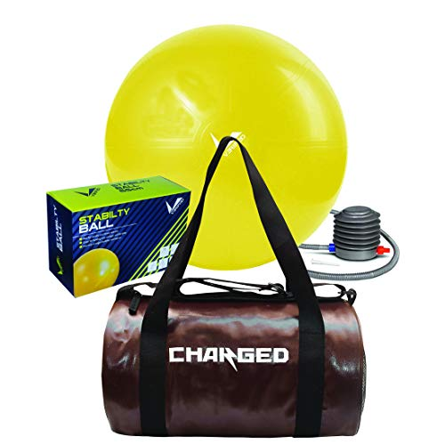 VERIFIED Gym Set with VERIFIED 65 cm Stability Ball and Charged Adena Gym Bag Brown