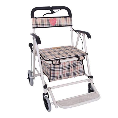 Einkaufswagen Einkaufswagen Älterer Helfer Tragbarer Roller Klapprollstuhl Sitz auf vier Rädern mit einem Lebensmitteleinkaufswagen Geschenk kann 100 kg tragen (Farbe: Braun, Größe: 69 * 60 * 89 cm)