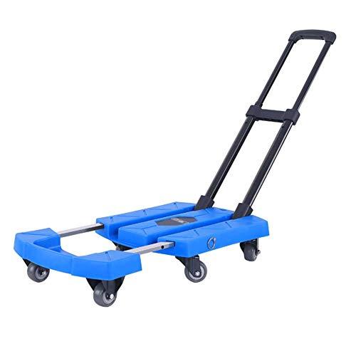 MNSSRN Faltbare Teleskop-Trolley, Handhabung Multifunktionsauto Schwerer Hand-LKW, Haushalt Anhänger, klappbaren tragbaren Pull Cargo-Rod-Auto,Blau,2 inch Wheels