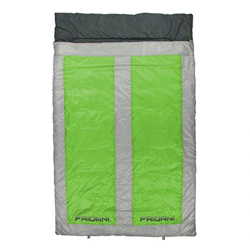 Fridani 2 Mann Schlafsack QG 225x140cm XXL Deckenschlafsack Grün -22°C warm wasserabweisend waschbar