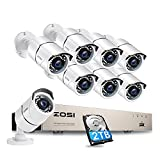 ZOSI 8ch 1080p Security Camera System with Hard Drive 2TB,5MP Lite 8 Channel H.265+ CCTV Video DVR Recorder and 8pcs 1920TVL Outdoor Home Surveillance Cameras,120ft Long Night Vision,Motion Alerts