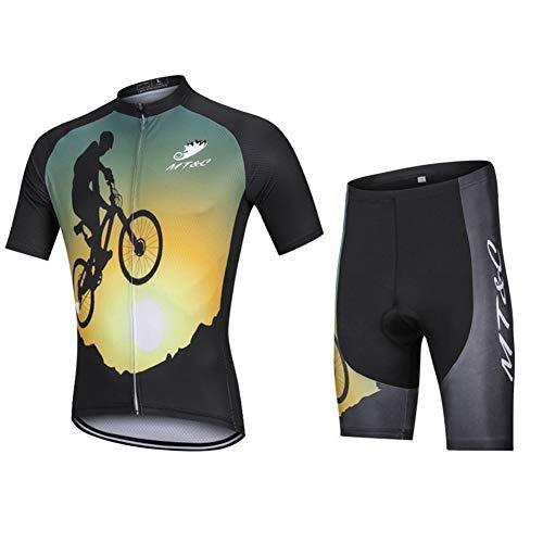 Ropa De Ciclismo Hombres Mujer Jersey + Pantalones Cortos Mangas Cortas Ciclismo Maillot Transpirable para Deportes Al Aire Libre Ciclo Bicicleta,C,M