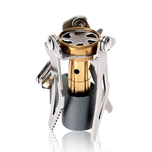 BAWAQAF Estufa,Estufa de gas portátil de acero inoxidable,Estufa de gas butano al aire libre,Burne ultraligero portátil en miniatura