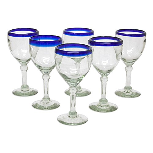 Great Price! NOVICA Artisan Crafted Recycled Glass Clear Blue Rim Hand Blown Wine Goblets Glasses, 1...
