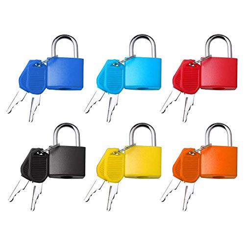 SRTYZ 6PCS Vorhängeschloss Klein mit Schlüssel Set Kofferschloss Schließfach für Gepäck Rucksack Werkzeugkasten und Reisetaschen Sicherheitsschloss Bunt Leicht zu Unterscheiden