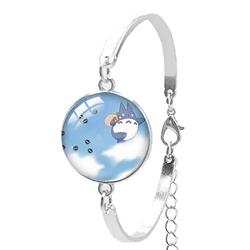 Totoro - Pulsera de cristal convexo para mujer, diseño redondo, hecha a mano, convexa, redonda, pulsera para mujer