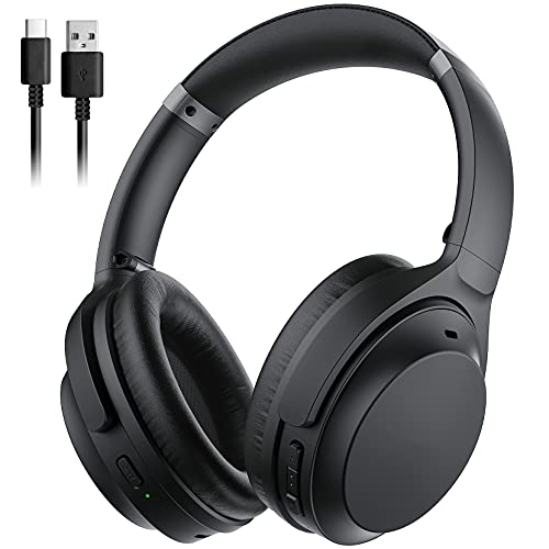 41PAd6KG64L. SL500  - Mpow H5 [Upgrade] Active Noise Cancelling Headphones, ANC Over Ear Wireless Bluetooth Headphones w/Mic, Electroplating Stylish Look, Comfortable Protein Earpads, Travel Work Computer Home