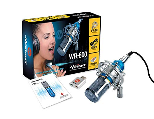 Wright WR 800 Condenser Microphone with USB Sound Card (Blue)