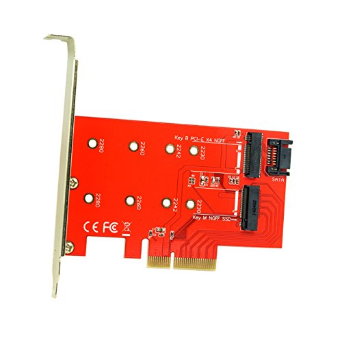 Cablecc M.2 NGFF 4-Spur-SSD zu PCI-E 3.0 x4 & NGFF zu SATA-Adapter für XP941 SM951 PM951 A110 m6e SSD