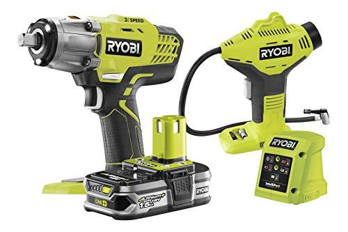 Ryobi RYKITLLAIN Kit Llave de Impacto 18V Inflador Batería 1,5 Ah Cargador
