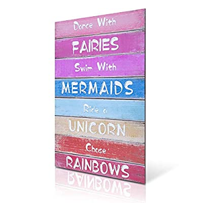 HERZOME Rainbow Unicorn Wall Hanging Sign for Girls, Wood Decorative Hanging Plaque for Kid's Bedroom, Nursery, College Dorm, Girls Room Decor. Gift for Unicorn, Mermaid, Fairy, Rainbow Lovers, 15.7x10.8