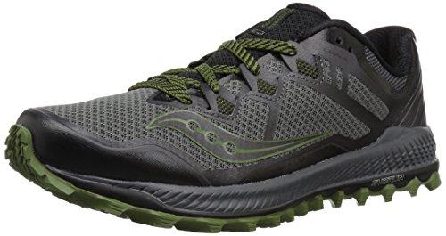Saucony Men's Peregrine 8 Running Shoe, Grey/Black, 8 Medium US