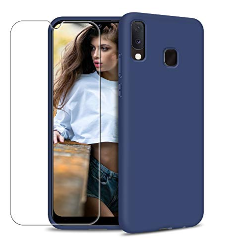 Funda Samsung Galaxy A20e + Protector de Pantalla de Vidrio Templado, Carcasa Ultra Fino Suave Flexible Silicona Colores del Caramelo Protectora Caso Anti-rasguños Back Case - Azul Oscuro
