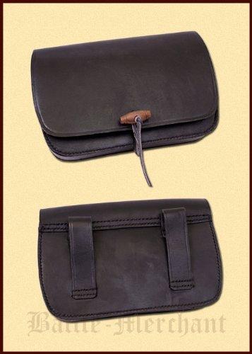 Étui en cuir, forme allongée marron-porte-monnaie-sac banane-moyen-viking-moyenâgeuse