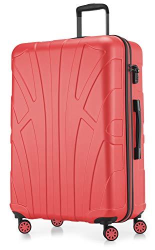 Suitline großer Hartschalen-Koffer Koffer Trolley Rollkoffer XL Reisekoffer, TSA, 76 cm, ca. 96-110 Liter, 100% ABS Matt, Korall