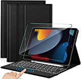 Sross-TEC Tastatur für iPad 10.2, QWERTZ Beleuchtete Tastatur Hülle für iPad 9./8./7. Generation (iPad 2021/2020/2019),iPad Air 3, iPad Pro 10,5Zoll, Tastatur Hülle mit Touchpad + Panzerglas, Schwarz