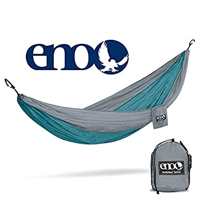 ENO, Eagles Nest Outfitters DoubleNest Lightweight Camping Hammock, 1 to 2 Person, Seafoam/Grey