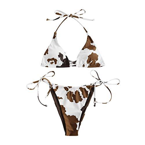 BBRS Las mujeres de dos piezas de impresión de vaca Split Sets Plus Size Beachwear traje de baño Bikini
