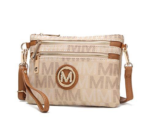 MKF 2 in 1 Crossbody Bags for Women, Wristlet Purse - Ladys Small PU Leather Messenger Handbag - Adjustable Strap Beige