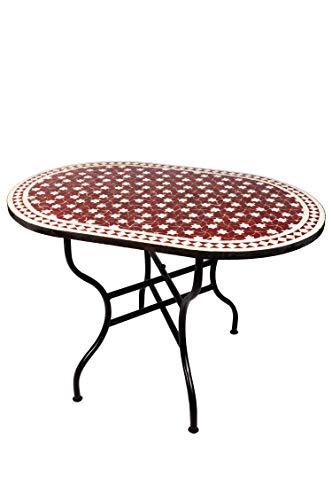 ORIGINAL Marokkanischer Mosaiktisch Gartentisch 120x80cm Groß eckig oval klappbar | Eckiger klappbarer Mosaik Esstisch Mediterran | als Klapptisch für Balkon oder Garten | Estrella Bordeaux Weiß